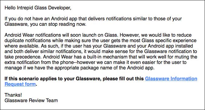 Benachrichtigung der Glass Entwickler @glassalmanac.com
