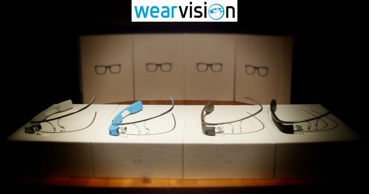 vier Google Glass ohne Brillengestell